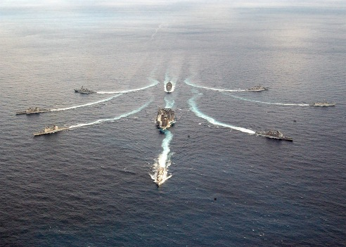 031130-N-3653A-001- Atlantic Ocean (Nov. 30, 2003) -- USS George Washington (CVN 73) Carrier Strike Group breaks formation in the Atlantic. Washington is conducting Composite Training Unit Exercise (COMPTUEX) in the Atlantic Ocean in preparation for their upcoming deployment. U.S. Navy photo by PhotographerÕs Mate 2nd Class Summer M. Anderson. (RELEASED)